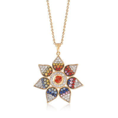 2.50 ct. t.w. Multicolored Sapphire and .77 ct. t.w. Diamond Pendant Necklace in 14kt Yellow Gold, , default