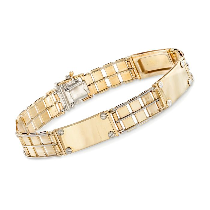 Men's 14kt Two-Tone Gold Link Bar Bracelet. 8.5""