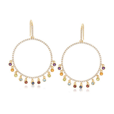 5.10 ct. t.w. Multi-Gemstone Circle Drop Earrings in 18kt Gold Over Sterling, , default