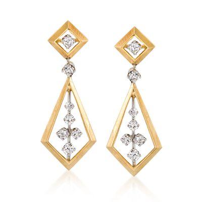 C. 1970 Vintage 1.50 ct. t.w. Diamond Geometric Drop Earrings in 14kt Yellow Gold, , default