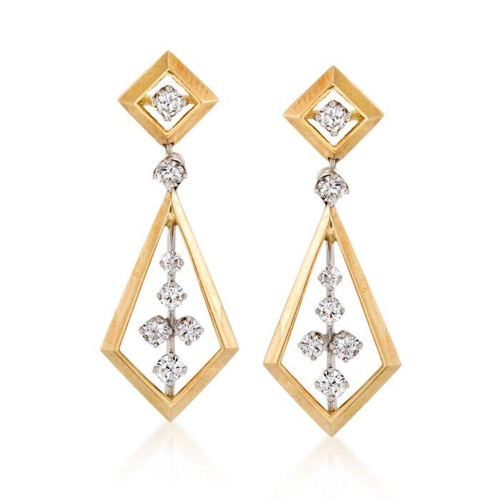 """C. 1970 Vintage 1.50 ct. t.w. Diamond Geometric Drop Earrings in 14kt Yellow Gold. 1 3/8"""", , default"""