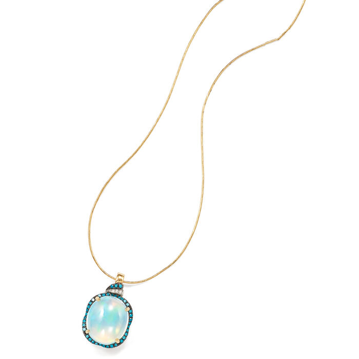 Ethiopian Opal and .29 ct. t.w. Diamond Pendant in 14kt Yellow Gold