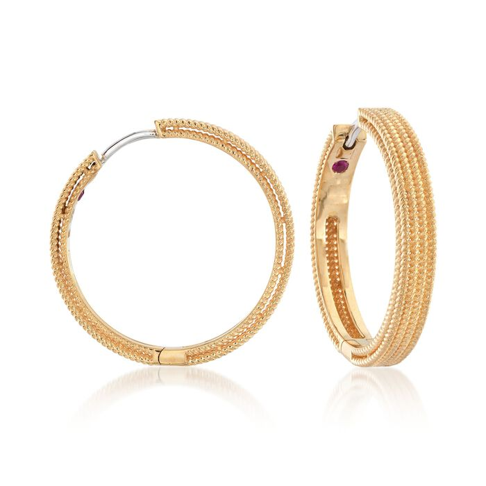 "Roberto Coin ""Symphony Barocco"" 18kt Yellow Gold Hoop Earrings. 7/8"", , default"