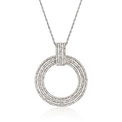 2.02 ct. t.w. Diamond Open-Circle Pendant Necklace in Sterling Silver, , default