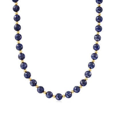 205.00 ct. t.w. Sapphire Bead Necklace with 14kt Yellow Gold