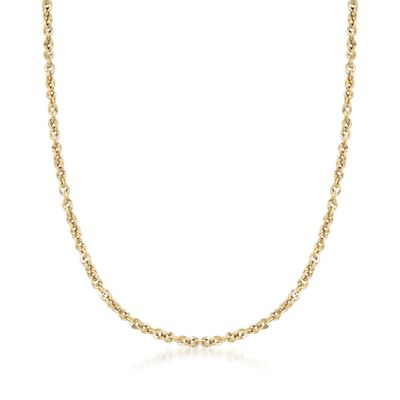 Italian 3.6mm 14kt Yellow Gold Rope Chain Necklace, , default