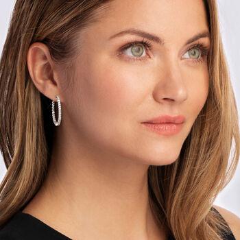 """2.00 ct. t.w. Diamond Inside-Outside Hoop Earrings in 14kt White Gold. 1 1/8"""""""