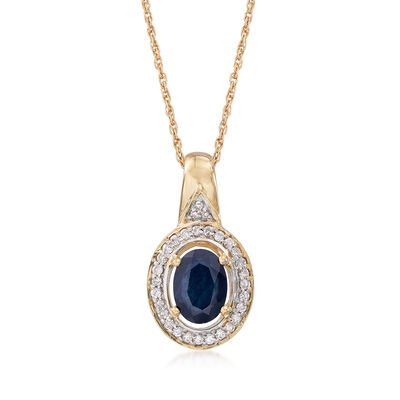 .90 Carat Sapphire and .14 ct. t.w. Diamond Pendant Necklace in 14kt Yellow Gold, , default