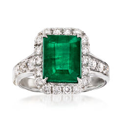 3.30 Carat Emerald and .91 ct. t.w. Diamond Ring in 18kt White Gold, , default