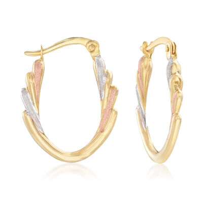 14kt Tri-Colored Gold Hoop Earrings, , default