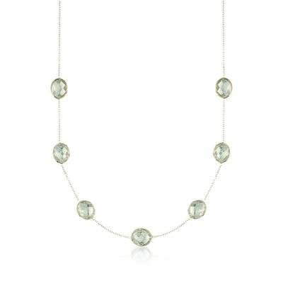 28.00 ct. t.w. Green Prasiolite  Station Necklace in 14kt Yellow Gold, , default