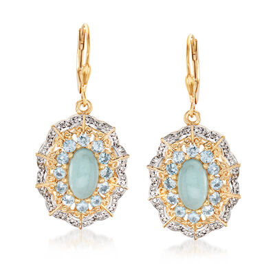 5.50 ct. t.w. Aquamarine and .32 ct. t.w. Diamond Drop Earrings in 18kt Gold Over Sterling, , default