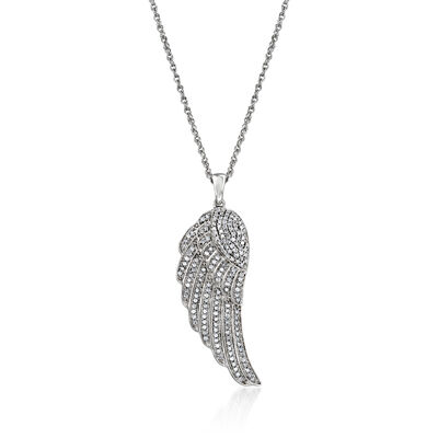 .33 ct. t.w. Diamond Wing Pendant Necklace in Sterling Silver