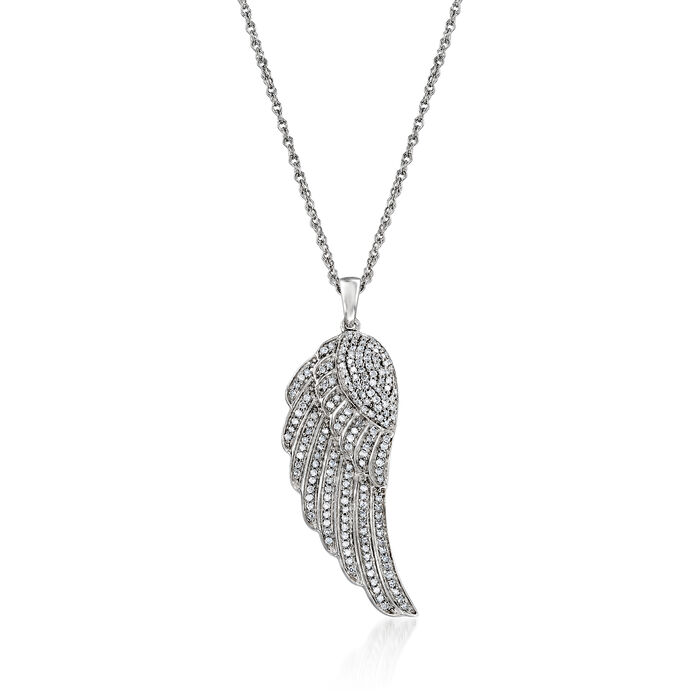 .33 ct. t.w. Diamond Wing Pendant Necklace in Sterling Silver. 18""