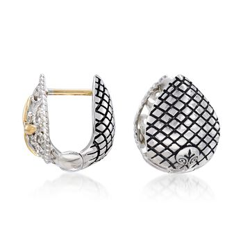 "Andrea Candela Sterling Silver and 18kt Yellow Gold Pear Huggie Hoop Earrings with Diamond Accents. 3/8"", , default"