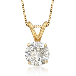 1.00 Carat Diamond Pendant Necklace in 18kt Yellow Gold, , default