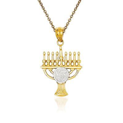 14kt Yellow Gold Menorah Pendant Necklace, , default