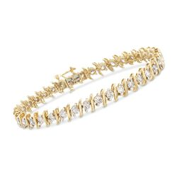 "5.00 ct. t.w. Diamond S-Link Floral Cluster Tennis Bracelet in 14kt Yellow Gold. 7"", , default"
