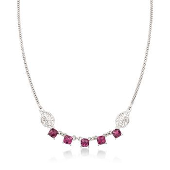 """6.75 ct. t.w. Rhodolite Garnet Necklace With Scrolled Sides in Sterling Silver. 18"""", , default"""