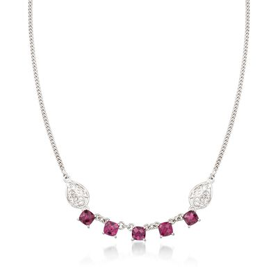6.75 ct. t.w. Rhodolite Garnet Necklace with Scrolled Sides in Sterling Silver, , default