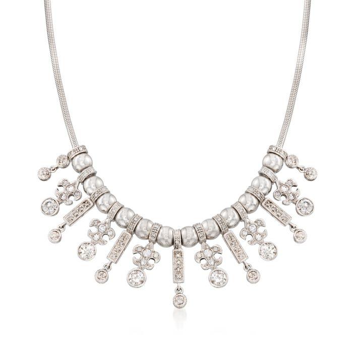 C. 1990 Vintage 3.75 ct. t.w. Diamond Fleur-De-Lis Bib Necklace in 14kt White Gold