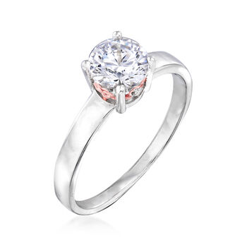 1.01 ct. t.w. Swarovski CZ Ring in Sterling Silver and 18kt Rose Gold Over Sterling