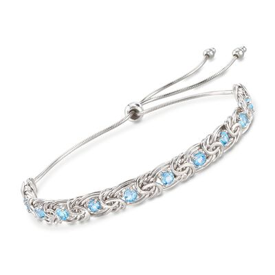1.90 ct. t.w. Sky Blue Topaz Byzantine Bolo Bracelet in Sterling Silver, , default