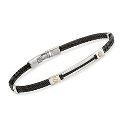 ALOR Men's Black Stainless Steel Cable Bracelet With 18kt Yellow Gold, , default