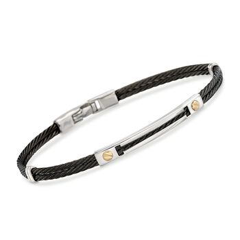 """ALOR Men's Black Stainless Steel Cable Bracelet With 18kt Yellow Gold. 7.75"""", , default"""