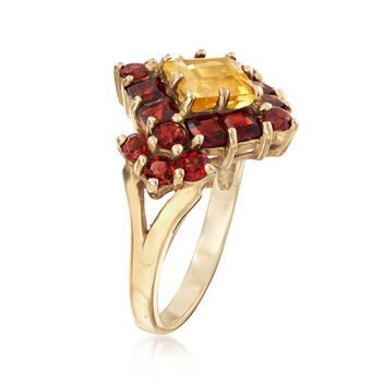 C. 2000 Vintage 1.42 ct. t.w. Garnet and .98 Carat Citrine Cluster Ring in 10kt Yellow Gold. Size 6, , default