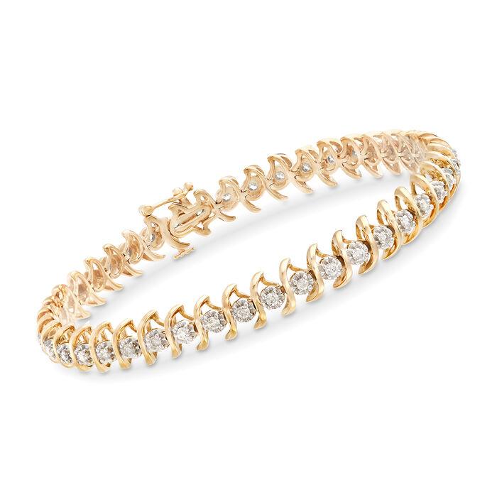 """1.25 ct. t.w. Diamond S-Link Bracelet in 18kt Gold Over Sterling. 8"""", , default"""