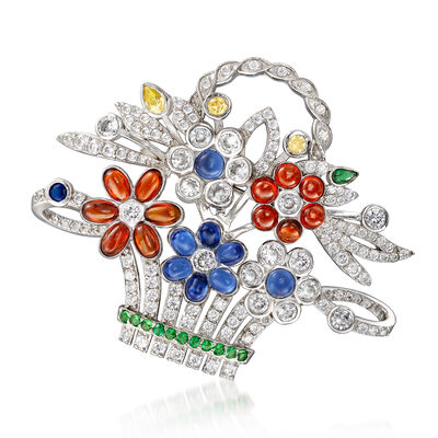 11.95 ct. t.w. Multicolored CZ Flower Basket Pin/Pendant in Sterling Silver, , default