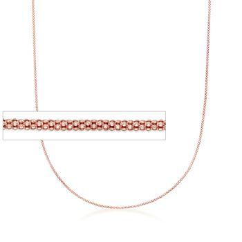 """Italian 1.2mm 14kt Rose Gold Adjustable Slider Popcorn Chain Necklace. 22"""", , default"""