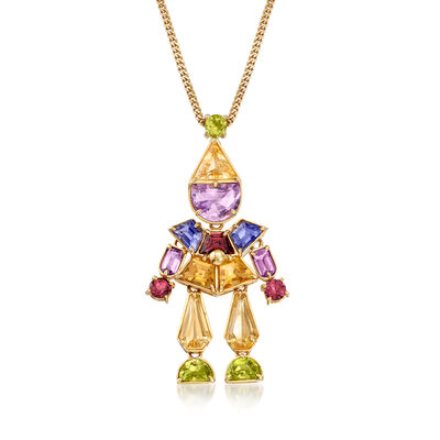 C. 1990 Vintage 7.50 ct. t.w. Multi-Gemstone Clown Pendant Necklace in 18kt Yellow Gold, , default