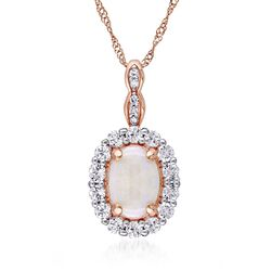 Opal and .60 ct. t.w. White Topaz Pendant Necklace With Diamonds in 14kt Rose Gold, , default