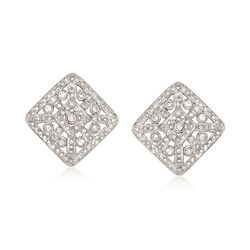 C. 1990 Vintage 2.50 ct. t.w. Diamond Square Clip-On Earrings in 14kt White Gold , , default