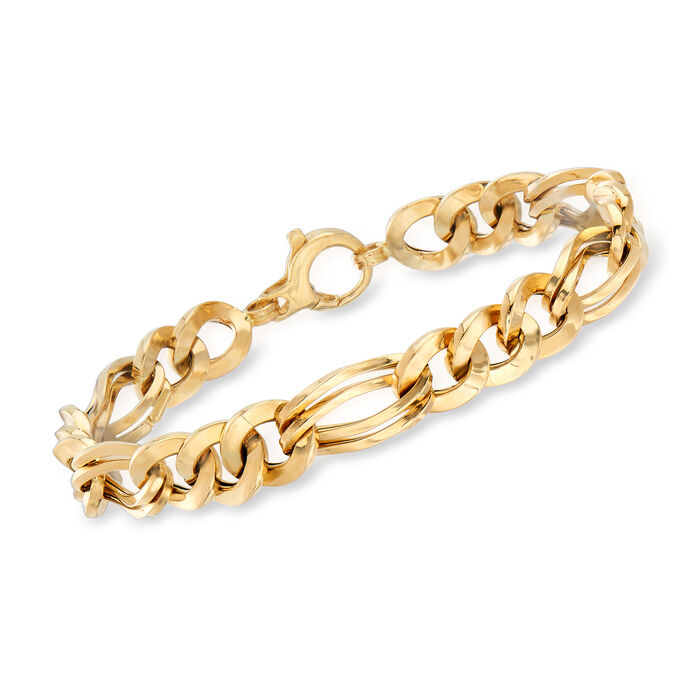 Italian 14kt Yellow Gold Alternating Oval and Round Link Bracelet, , default