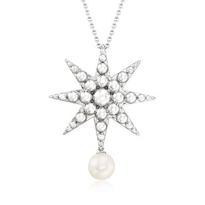 8.5-9mm Cultured Pearl Star Necklace in Sterling Silver