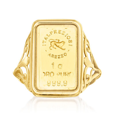 Italian 24kt Yellow Gold One-Gram Ingot Ring with 14kt Yellow Gold Band