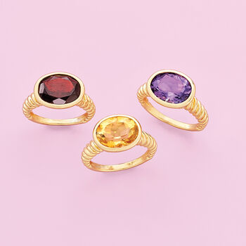 4.50 Carat Oval Amethyst Ring in 18kt Gold Over Sterling, , default