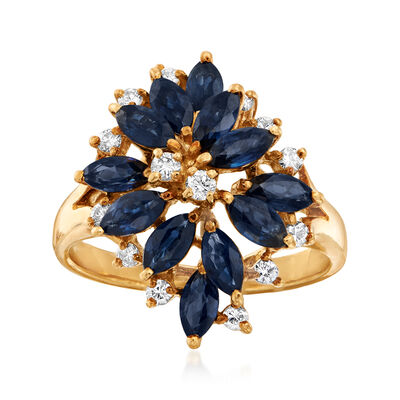 C. 1980 Vintage 2.40 ct. t.w. Sapphire and .30 ct. t.w. Diamond Cluster Ring in 18kt Yellow Gold, , default