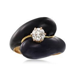 C. 1880 Vintage .50 Carat Diamond and Black Enamel Bypass Ring in 14kt Yellow Gold. Size 6.75, , default