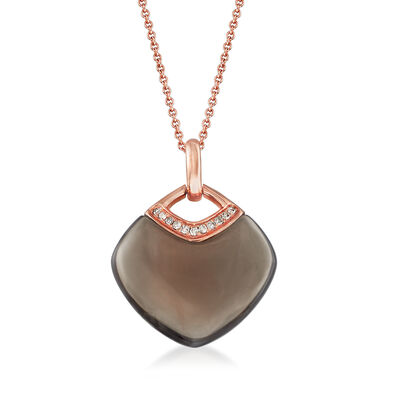 C. 2000 Vintage 18x15mm Smoky Quartz Pendant Necklace with Diamond Accents in 14kt Rose Gold, , default