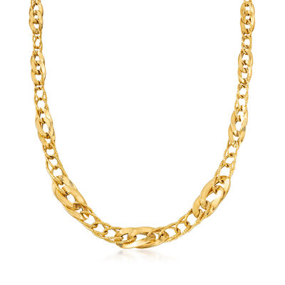 Italian Graduated Oval-Link Necklace in 18kt Yellow Gold, , default