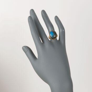 Cabochon Labradorite Brushed Ring in 18kt Gold Over Sterling. Size 6, , default