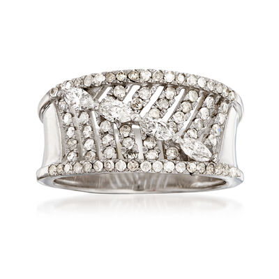 .83 ct. t.w. Diamond Feather Ring in 14kt White Gold, , default