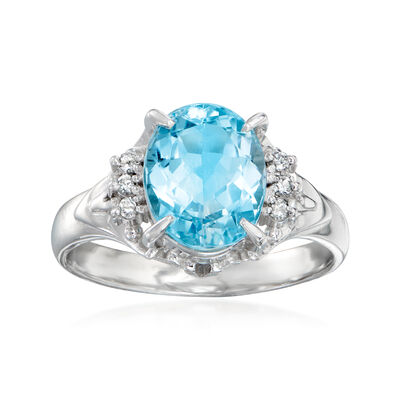 C. 2000 Vintage 2.17 Carat Aquamarine Ring with Diamond Accents in Platinum