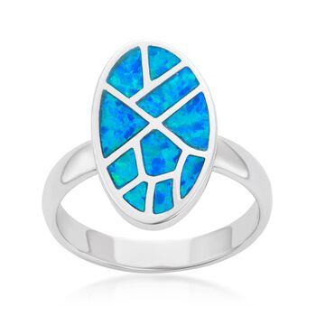 Blue Synthetic Opal Mosaic Ring in Sterling Silver, , default