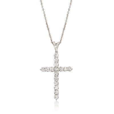 1.00 ct. t.w. Diamond Cross Pendant Necklace in Platinum, , default