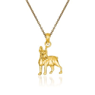 14kt Yellow Gold Boston Terrier Pendant Necklace, , default